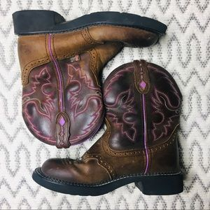 Justin Gypsy Leather Cowgirl Boots Pink Detail